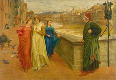 Henry Holiday - Dante And Beatrice Art Print by fineartpaintings - X-Small Gabriels Inferno, Dante Alighieri, High Renaissance, Classical Art, Italian Art, Art Google, Poet, Madonna, Art History