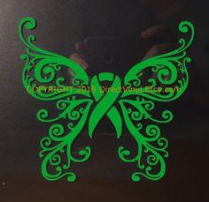 Green Awareness Ribbon Fancy Butterfly Window Decal by directvinyl