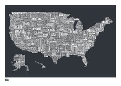 very cool map of the u.s.a. with names of cities and states as the interior boundaries.
