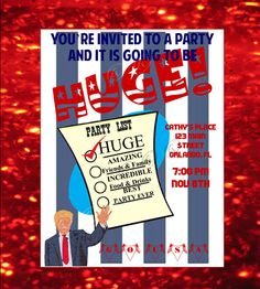 Republican Election or Inaugural Celebration Party Invitation by ohhhhilovethat on Etsy. STILL NOT TO LATE to send digitally to your friends and have a Jan 20th party!   Can also be modified for any special party, anniversary or birthday event!