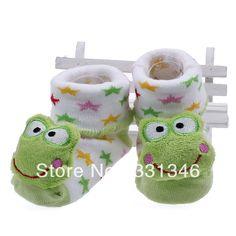 Gratis verzending 1 paar kikker patroon unisex kind pasgeboren baby jongens meisjes peuter indoor anti- slip cartoon lopen schoenen sokken warmer