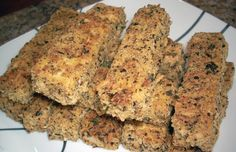 ***ENTREE*** Tofu Fish Sticks Nutrition Info Serving Size: 1 (380 g)  Servings Per Recipe: 4  AMOUNT PER SERVING% DAILY VALUECalories 609.3 Calories from Fat 139 23%Total Fat 15.5 g 23%Saturated Fat 3.1 g 15%Cholesterol 3 mg 1%Sodium 762.6 mg 31%Total Carbohydrate 90.2 g 30%Dietary Fiber 7.4 g 29%Sugars 6.4 g 25%Protein 30 g 60% >> SLOtility.com