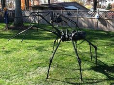 Giant Spider pvc legs - cool there are two of them.I& going to have two little baby ones with the big one. Halloween Prop, Halloween Outside, Halloween Spider, Outdoor Halloween, Halloween 2017, Holidays Halloween, Halloween Stuff, Halloween Forum, Spider Costume