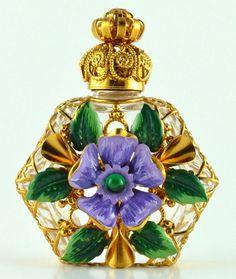 Jeweled gold tone filigree purple flower perfume bottle