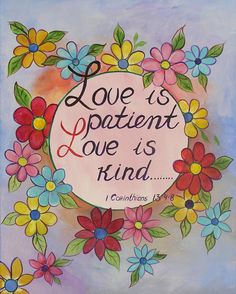 Biblical verse, Bible quote, Hand Painted sign, Original Art, Wall Decor,Inspirational Words, Love is patient love is kind16x20 on Etsy, $45.00