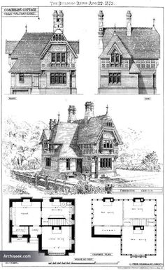 "Architect: Fred Chancellor Published in The Building News, August 22 ""One of our illustrations this week is a Lodge recently erected for J., at Langley's-park, near Chelmsford Victorian Architecture, Historical Architecture, Architecture Plan, Amazing Architecture, Architecture Details, Storybook Homes, Vintage House Plans, Villa, Second Empire"