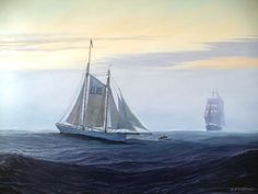 Marine Paintings by #JennyMorgan - Misty Evening  The Elbe pilot schooner is about to drop a pilot aboard an incoming ship, bound to one of the North Sea ports like Hamburg. These fine schooners were invaluable in guiding shipping through the treachorous maze of shoals off the Elbe estuary, especially in hazy or foggy conditions, quite apart from winter storms. Oil on canvas, signed lower right, framed.