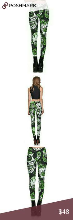 💋Skull Print Yoga Leggings - Green! Beauty... and the BEAST... in these leggings!  Namaste! Pants Leggings