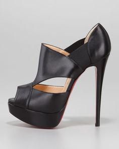 Christian Louboutin Pitou Leather Peep-Toe Red Sole Bootie, Black ..chic and slick