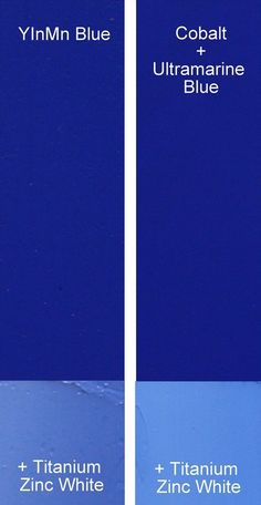 YInMn compared to Cobalt Blue + Ultramarine Blue