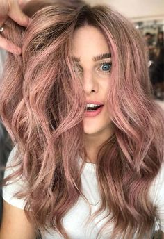 Summer Hair Colors Ideas & Trends: Ashen Rose Hair Color    #haircolor #hair #hairstyle #longhair #rosegoldhair #rosegold #pinkhair