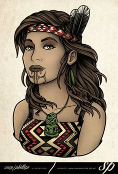 Sam Phillips Illustration of a maori girl in kapa haka costume Maori Designs, Tattoo Designs, Sam Phillips, Polynesian Art, Polynesian Tattoos, Polynesian Culture, Samoan Tribal, Filipino Tribal, Zealand Tattoo