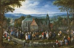 Brueghel el Viejo, Jan Bruselas, 1568 - Amberes, 1625 Country Wedding 1612.  A wedding procession moves towards the church in a rural setting. The male members of both families lead the procession, headed by the groom. The flower in his hand is clearly a symbol of matrimony. The bride remains among the women. Both wear black clothing and a broad ruff collar, in keeping with early seventeenth-century style.