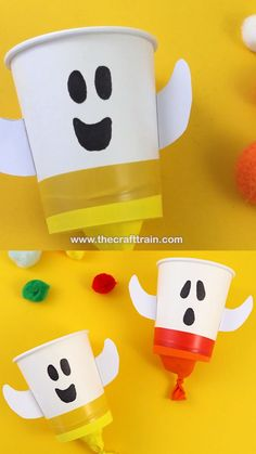 Cute and easy ghost themed pom pom poppers kids can make for Halloween. All you need are balloons, paper cups, tape and a few pom poms. This is a fun kids craft for all ages and a simple DIY toy #ghostcraft #kidscraft #halloween #pompompopper #diytoys #kidshalloween #ghosts #thecrafttrain Adornos Halloween, Manualidades Halloween, Halloween Activities For Kids, Animal Crafts For Kids, Halloween Crafts For Kids, Fun Crafts For Kids, Preschool Crafts, Spooky Halloween, Halloween Labels