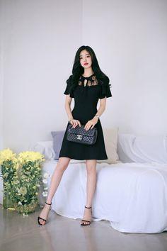 milkcocoa Korean Fashion Dress, Asian Fashion, Fashion Dresses, Korean Dress Formal, Formal Dress, Sweet Dress, Knee Length Dresses, Classy Dress, Mode Style
