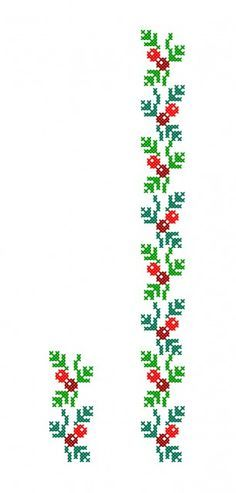 Simple holly garland cross stitch