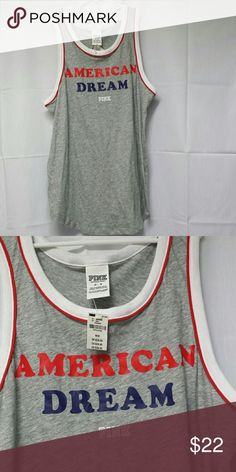 Pink American Dream tank top Victoria's Secret Pink tank top. Red White and blue, on gray. American Dream. Great for 4th of July Independence Day Memorial Day.  Oversized medium Brand new PINK Victoria's Secret Tops Tank Tops