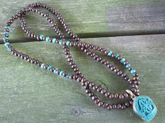 Sandalwood and African Turquoise Necklace with by Stone and Stem  #tibetanjewelry #dorje #buddha #boho