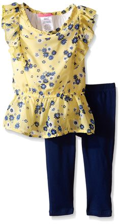 Kidtopia Little Girls' Toddler Small All Over Floral Peplum Bottom and Top and Legging Tunic, Estate Blue, 4T. Flutter sleeves. Peplum.