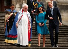 Catherine, Duchess of Cambridge walks with her husband Prince William, Duke of Cambridge and the Dean of St Paul's Cathedral Trevor James. P...