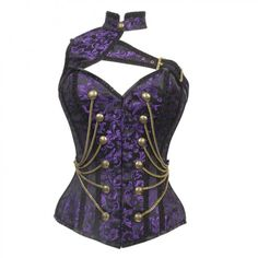Military Inspired Purple and Black Brocade Corset