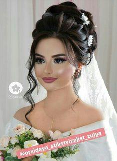 Dramatic Wedding Makeup, Bridal Makeup Looks, Bridal Hair And Makeup, Hair Makeup, Bridal Hair Buns, Bridal Hairdo, Long Hair Wedding Styles, Front Hair Styles, Curly Hair Tips