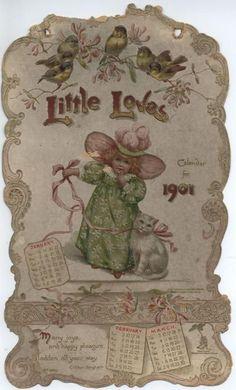 Little Love's calendar - Vintage Ephemera, Vintage Cards, Vintage Postcards, Vintage Images, Vintage Happy New Year, Happy New Year Photo, Vintage Calendar, New Year Photos, Graphics Fairy