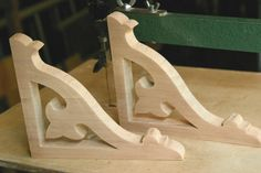 Pair of Fretwork Brackets Fleur de Lys / Lis / Corner / Victorian Gingerbread