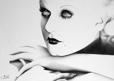 Jean Harlow Pencil Drawing by IleanaHunter