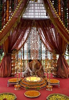 Cozy-Chic Wedding Decoration Ideas to Enchant Your Big Day - Momo Zain - Indian Wedding Decoration Ideas stage – The center stage becomes the most important area in any m - Indian Wedding Theme, Desi Wedding Decor, Wedding Mandap, Big Fat Indian Wedding, Outdoor Wedding Decorations, Chic Wedding, Wedding Ideas, Indian Weddings, Wedding Events