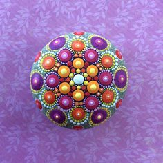 Jewel Drop Mandala Painted Stone Sacred geometry by ElspethMcLean Mandala Art, Mandala Canvas, Mandala Painting, Mandala Design, Flower Mandala, Dot Art Painting, Pebble Painting, Pebble Art, Stone Painting