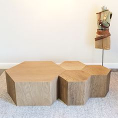 Hexagon Wood Modern Geometric Table- Natural in large and small. Use as a modular coffee table or as bedside tables Reclaimed Furniture, Modular Furniture, Design Furniture, Unique Furniture, Table Furniture, Geometric Furniture, Modular Table, Furniture Nyc, Furniture Websites