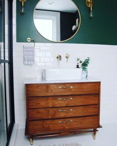 home accents bathroom Mid-century modern dresser vanity Dresser Vanity Bathroom, Vanity Redo, Bathroom Furniture, Bathroom Interior, Bathroom Vanities, Bathroom Cabinets, Modern Furniture, Bathroom Wallpaper, Vanity Ideas