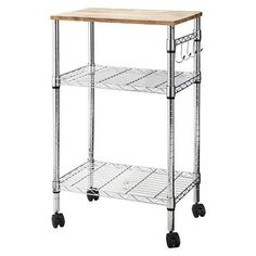 Microwave Cart With Wood Block Top Metal/Chrome