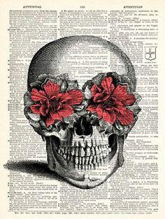 Pink Flower Skull Vintage Dictionary Print Vintage Book Print Page Art Upcycled Vintage Book Art. Vintage Book Art, Vintage Diy, Flower Skull, Flower Art, Anatomy Art, Grafik Design, Art Plastique, Skull Art, Pink Flowers