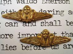 Raw Brass Snake Goddess Stampings (2) - FF3337 Jewelry Finding