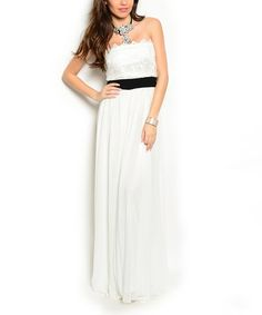87a7883f5c12 Look at this Ivory & Black Lace Strapless Maxi Dress on #zulily today!
