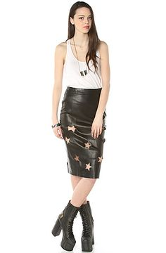 LA Boutique Skirt Starry Eyed Faux Leather in Black - Karmaloop.com