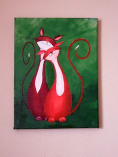 """Original Cat Painting for Sale : Fantasy Cats  """"Cuddling Cats in Red"""""""
