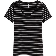 Jersey top 26 AED ❤ liked on Polyvore featuring tops, striped top, short sleeve tops, stripe top, black and white stripe top and black and white jersey