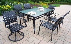 Oakland Living 10188-S7-BK SevenPiece Outdoor Dining Set by Oakland Living. $631.11. Web Seven-Piece Dining Set with Swivels This dining set will be a beautiful addition to your patio, balcony or outdoor entertainment area.The setisperfect for any small space, or to accent a larger space.  Includes:   One dining table - 60'L x36'W x 28'H  FourWeb dining chairs - 24'W x 23.25'BackToFront x 35'H  TwoWebswivels - 24'W x 23.25'BackToFront x 29'H  Features:  Lightweight,constr...