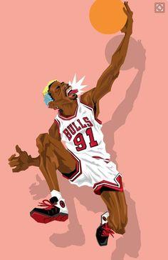 Chicago Bulls legend Dennis Rodman aka The Worm illustrated by Muideen Ogunmola aka Blocknation. Sports Page, Dennis The Menace, Dennis Rodman, Basketball Art, Chicago Bulls, Worms, Black Art, Caricature, Nba