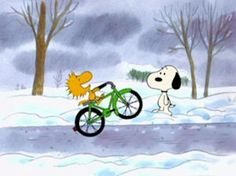 Even Woodstock doesn't let cold weather get in the way of doing something fun.....