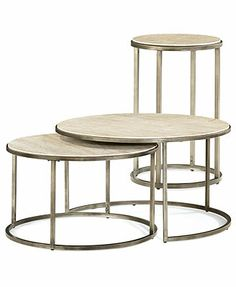 Monterey Round Tables, 2 Piece Set (Nesting Coffee Table and End Table) with a bronze/brass finish