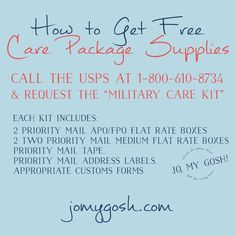 How to get FREE care package supplies. I just checked it-- it really works! How to get FREE care package supplies. I just checked .