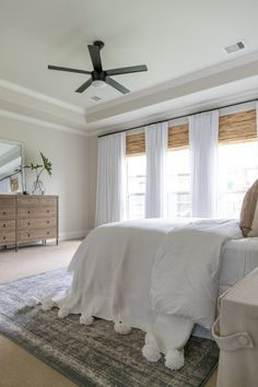 bamboo shades, white drapes, restoration hardware dresser, summer home tour decor White Master Bedroom Design, Home Bedroom, Bedroom Decor, Coastal Master Bedroom, Beach House Bedroom, Bedroom Drapes, Bedroom Ceiling, Curtains, Interior Exterior