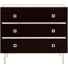 Hudson Rosewood 3-Drawer Chest | Silver