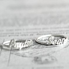 Initial Monogram / Handwriting silver name ring - $30.00 : Silver Promo