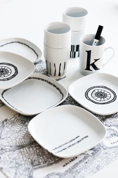 modern white & black dishes.. with a sharpie
