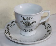 Hendrick's Gin Teacup & Saucer 'A Most Unusual Gin' Collectors Item. Christmas Drinks, Christmas Gifts, Hendrick's Gin, White China, Green Cleaning, Tea Cup Saucer, Distillery, Teacup, Burlesque